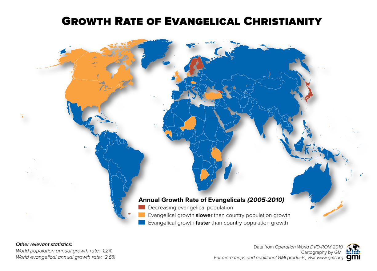 Growth Rate Of Evangelical Christianity Maps Christianity Map